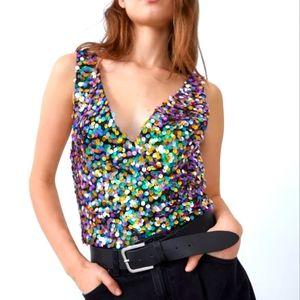 ⭐HOST PICK⭐ ZARA V-Neck Multicolor Sequin Crop Top